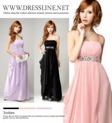 【アウトレット】【4サイズ】シフォンエンパイア ベアトップロングドレス