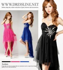 オーロラビジュー装飾 ティアードテールスカート ロングドレス