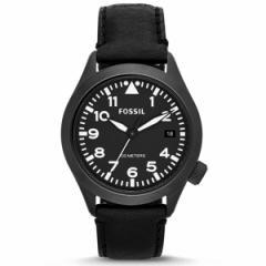 送料無料【FOSSIL(フォッシル)】 AEROFLITE/エアロフライト AM4515  ブラック(黒色)レザーベルト メンズウォッチ /男性用腕時計
