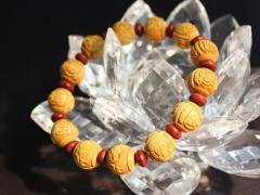 高級柘植玉 十三仏/ウッドビーズ/紫檀/数珠ブレスレット【送料無料・パワーストーン・天然石】