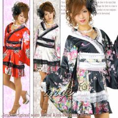 CPD1406-016/キャバドレス/SILVERチェーン&レース付き♪和柄ふりふり花魁ドレス 着物風サテンワンピース
