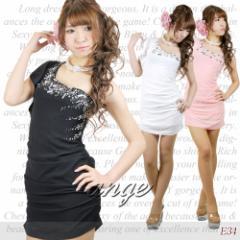 SD1206-913/キャバドレス/シフォン胸元パールビジュ ワンショルショートドレス