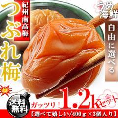 選べてお徳紀州 南高梅 つぶれ梅 1.2kg/送料無料/訳あり/梅干し/和歌山県産