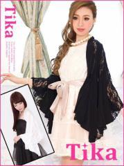 【Tikaティカ】レース切り替えバタフライボレロ結婚式ドレスやキャバドレスに合わせやすい羽織[F][黒]
