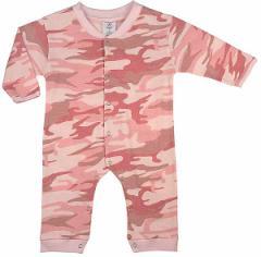 [あす着]ボディースーツ 肌着 下着 ベビー服 アーミー ミリタリー 迷彩 ピンク カモフラージュ ロングスリーブ レッグ ワンピース 67059