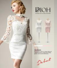 DIOH【ディオ】パールビジューデコルテ レーススリーブ ワンピースドレス Lサイズ 大きいサイズ 送料無料