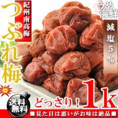 塩分たったの5%紀州南高梅 減塩 梅干し つぶれ梅 1kg(500g×2) しそ梅  送料無料/訳あり/梅干し/和歌山県産