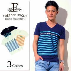 SALE FREEDEE UN OLD【フリーディー】Vネック ボーダー Tシャツ /全3色(ネイビー/ホワイト×ブルーA/ホワイト×オレンジB) メンズ