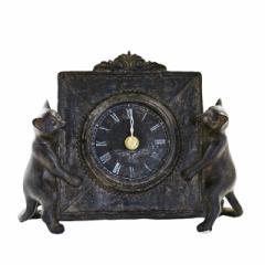 2キャット置時計【猫雑貨/アンティーク雑貨/癒し雑貨/アンテーク時計/猫の置物/インテリア雑貨/通販/ギフト/ラッピング無料】