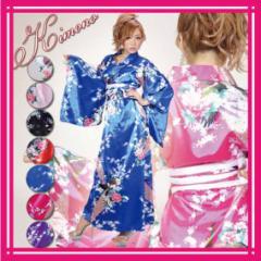 着物ドレス 浴衣ドレス 花魁ドレス キャバ 帯 セット【メール便可♪花鳥柄サテン・ロング着物ドレス】