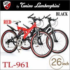 送料無料★Tonino Lamborghini(トニーノ・ランボルギーニ) MTB26・18SP・Wサス TL-961 レッド/ブラック■自転車 マウンテンバイク