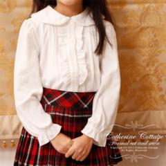 【子供服 フォーマル 入学式 卒業式 】丸襟フリルスムースカットソーブラウス ワンピースに合わせて♪ TK3013