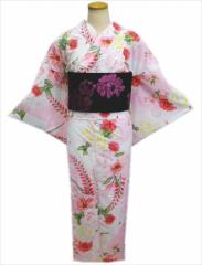 トールサイズ浴衣&ラメ入結び帯作り帯2点セット白ピンク地薔薇ゆり藤