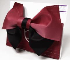 日本製 グラデーション リバーシブル ラメ入り 浴衣 浴衣帯 結び帯 作り帯 レッド×ブラック