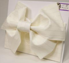 日本製 ラメ柄入り 浴衣 浴衣帯 結び帯 作り帯 オフホワイト ドット 水玉