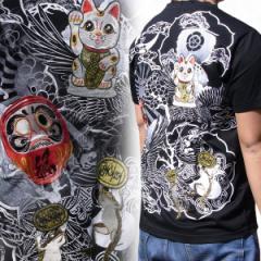【SALE】【和柄Tシャツ】【和柄 メンズ】【T161-4】和柄刺繍半袖Tシャツ招き猫和柄 Tシャツ 和柄Tシャツ絡繰魂よりお買得