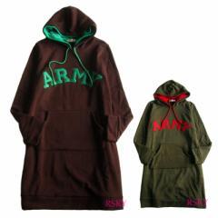 ARMY パーカーワンピ 裏起毛 ロング チュニック ワンピース 大きいサイズ LLサイズ 3Lサイズ 体型カバー レディース ladys lt028