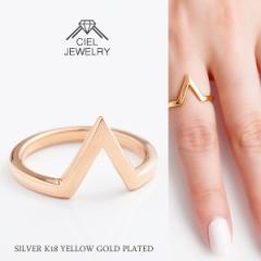 「V」ライン リング K18仕上げ ring 送料無料 / K18GP 指輪 レディース リング アクセ・ジュエリーm_ac sale
