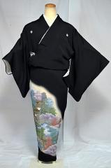 千鳥635*【ポイント10倍】 【送料無料】 中古 作家物 ぼかし 修学院離宮 金彩 比翼付 高級黒留袖 美品