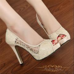 レディースハイヒールオープントゥ パンプス サンダル 靴 痛くない 美脚パンプス 歩きやすい  OL  11cmリボン付き