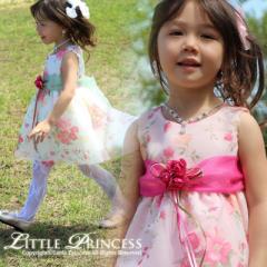 ベビードレス 001919 ベビーフォーマル 子供ドレス 結婚式 ヘアバンド付き 花柄 70-95cm [001919]