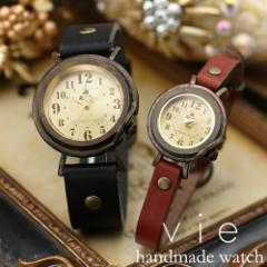 ペアウォッチ 時計 カップル 革 レザー 刻印 送料無料 ハンドメイド アンティーク ブランド Vie WB-013M-013S /35,640円