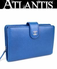 美品! シャネル コンパクトジップ財布 二つ折り財布 キャビア 青