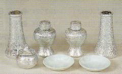 神道専科:神具(内祭用) NO.229 ●銀チジミセット・中 4寸 税抜¥6800円