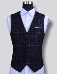 メンズ上質ベスト厚手チェック柄四つボタンイギリス風ビジネスオフィスベストフォーマル ジレベスト 結婚式 通勤 事務服 タキシード 礼服