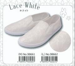 かわいいスリッポンレース 『レース ホワイト』レディース 靴 ジップ 選べる2サイズ