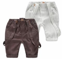 子供キッズウェア男の子2WAYS 夏物オーバーオール五分丈サロペット オールインワン ストライプ ハーフ丈ジュニア ショートパンツ ズボン