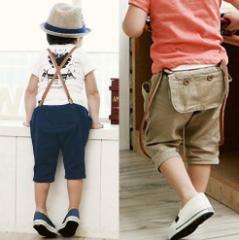 子供キッズウェア男の子2WAYS 夏物オーバーオール五分丈サロペット オールインワン可愛いハーフ丈ジュニア無地ショートパンツ ズボン
