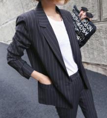 韓国カジュアルスーツセットアップ女性レディース通勤スリム細身ストライプ OL上下セット ジャケット+ズボン2点オフィス