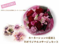 【送料無料】カーネーションの花束とオシャレコサージュセット☆お祝い/プレゼント/ギフト