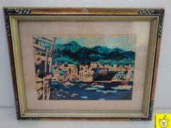 川西英 神戸作家 木版画 自額自摺 オリジナル額 神戸港 本物保証