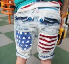 【ゆうメール送料込み】韓国子供服USA星条旗ハーフデニムパンツ100〜130cm