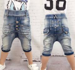 【ゆうメール送料込み】韓国子供服サルエルハーフデニムパンツ100〜150cm
