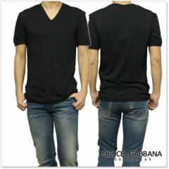 【セール 35%OFF!】DOLCE&GABBANA UNDERWEAR ドルチェ&ガッバーナ アンダーウェア VネックストレッチTシャツ M18160 ONG35 ブラック