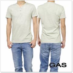 【セール 40%OFF!】GAS JEANS ガスジーンズ メンズヘンリーネックTシャツ JANIS/S GAS.J / 542792 182301 ライトグレー