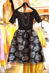 cosy ワンピース ドレス フレア Aライン ワンピ 上下セット セット アンサンブル 半袖 花柄 メッシュ 結婚式  フォーマル ドレス