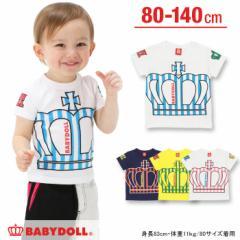 【受賞記念20%OFF】3/15NEW♪親子ペア★ストライプ王冠Tシャツ-ベビーサイズ キッズ ベビードール BABYDOLL-8992K