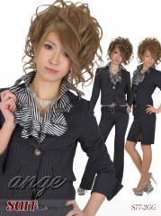 S1401-003/【送料無料】キャバスーツ/フリルシャツ付き ストライプパンツ&スカートスーツ4点セット☆タイプB
