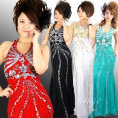 キャバドレス/LD1303-012/シフォン ホルターネック ビーズ&スパン ゴージャスドレス