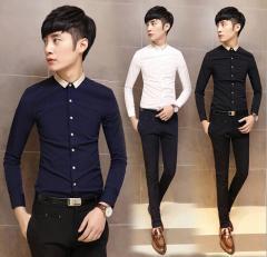 お兄系/細身/スリム/長袖シャツ メンズカジュアルシャツM~5XL学生ワイシャツOL通勤 仕事用 スプライス仕事 Yシャツ 大きいサイズあり