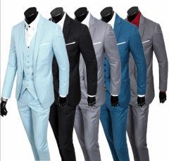 一つボタン★スーツ+パンツ+ベスト/スーツ 上下セット セットアップ 純色 結婚式 OL通勤 S~XXL 卒業式 入学式 メンズ/3点セット/9色あり