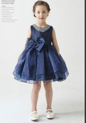 首元に豪華なビジュー付き子どもドレス/子供ドレス/子どもドレス/ピアノ発表会/結婚式/お姫様/フォーマル 女の子