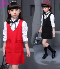 長袖シャツ+ サロペットスカート オーバーオール キッズ/ベビー 女の子 純色 2点セット 上下セット セットアップ
