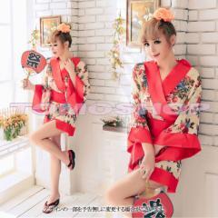 あす楽 セクシー 着物ドレス コスプレ衣装 花魁 ランジェリー 和服 浴衣 キャバドレス 和装 和柄 花柄 ミニ 赤帯
