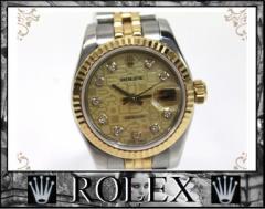 ★ロレックス デイトジャスト レディース腕時計 SS×YG 10Pダイヤ 自動巻★