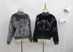 スウェート  トップス 刺繍つき ジャケット モコモコ レーテイスファション
